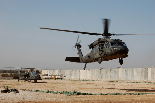 U.S. Army Apache and Blackhawk Helicopters