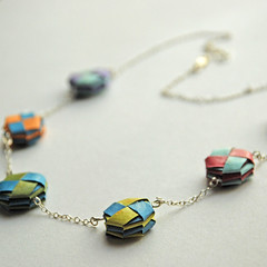 sterling silver paper bead necklace (papermode) Tags: blue red sky orange color silver paper necklace moss rainbow origami colorful purple bright handmade turquoise craft jewelry bead handcrafted accessories folded sterling etsy folding accessory papermode