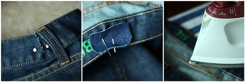 "Pin the denim patch to the inner waistband, making sure sides of the ""V"" are touching, and iron patch in place."