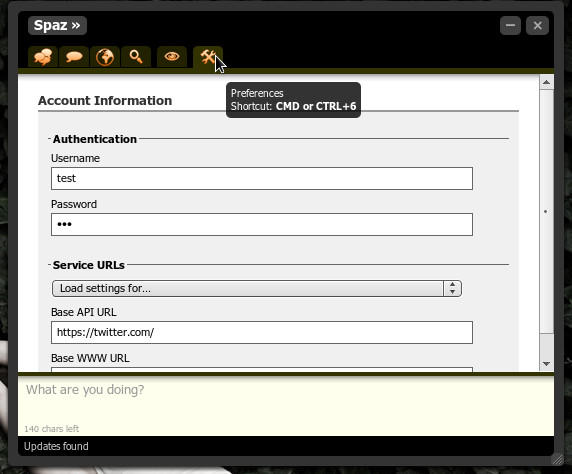 Setup Account in Spaz