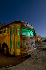 Bus Life (Lost America) Tags: lightpainting bus abandoned night gm fullmoon junkyard schoolbus highway395 nocturnes pearsonville