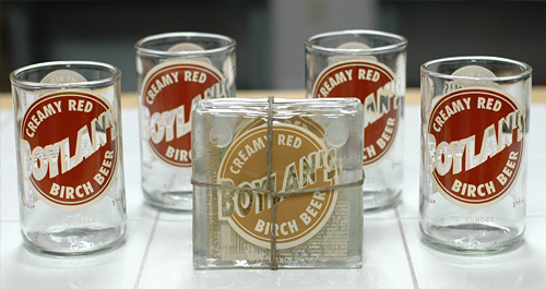 Boylans Creamy Red Birch Beer Glass and Coaster Set ($50.00)