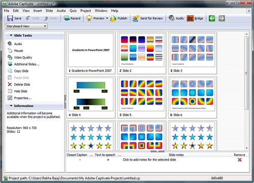 Imported PowerPoint slides in Captivate