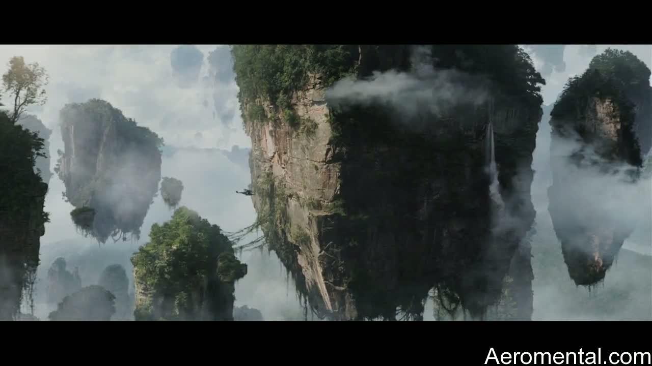 película Avatar rocas flotando