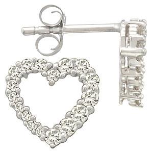 14K White Gold Real Diamond Extraordinary Love Earrings