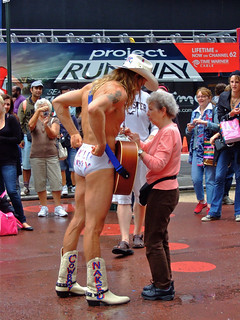 Naked Cowboy and Elderly Woman