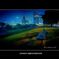 LONELY DREAM BENCH (ANVAR - RUSSIANTEXAN ) Tags: longexposure beautiful night nikon downtown nightshot houston russiantexan lonelybench d700 nikkor2470mmf28 anvarkhodzhaev russiantexas svetan svetanphotography