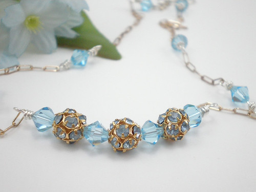Sterling silver, gold filled, aqua Swarovski crystal bicone and round necklace