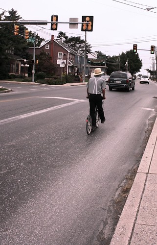 Amish boy on scooter