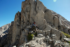 DavidToppedOut_sm (David Van Woert) Tags: blue camping trees sky lake snow storm tower ice sport rock pine forest fun temple big high team hiking altitude north first gear fork rope sierra glacier tex climbing alpine national technical gore mountaineering scree second third wilderness 395 aiguilles talus crag pallisades inyo aiguille