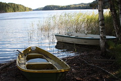 Boats preparing for winter (juhovh) Tags: park autumn forest espoo national 2009 nuuksio syksy