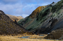 Landmannalaugar V, Iceland (Xindaan) Tags: travel blue vacation sky orange mountain holiday colour nature water clouds creek river landscape geotagged island iceland islandia nikon rocks europa europe natur gorge nikkor rhyolite landschaft f8 2009 sland islande isl vk islanda d300 landmannalaugar blhnkur 1685 blahnukur 62mm grnagil liparit 1685mm 1685mmf3556gvr afs1685mm liparite skeifltur brennisteinsldukvsl brennisteinsoldukvisl graenagil geo:lat=6398351532 geo:lon=1906926526