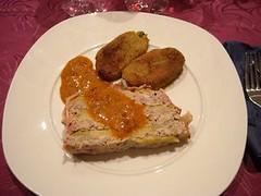 087 Milhojas de manzana con carne trufada con salsa de sobrasada (de Mallorca) con miel