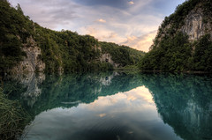 Plitvice Lakes - Sunset Reflection (keiththrn) Tags: pink trees sunset reflection nature water clouds see nationalpark lakes croatia hdr kroatia hrvatska plitvice photomatix plitvikajezera