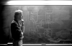 The Professor (Bjorn Hanson) Tags: blackandwhite bw college computer nikon university think science teacher professor ponder chalkboard examine computerscience instructor erdiagram comtemplate nikond40x d40x entityrelationshipmodel