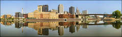 downtown saint paul reflections (Dan Anderson (dead camera, RIP)) Tags: reflection water glass minnesota skyline river mississippi mirror town silk stpaul down calm riverfront mn development