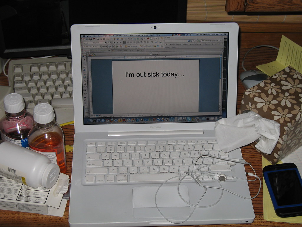 Laptop and cold meds: I'm out sick today...