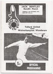 Telford United v Wolves 1975-76 (bullfield) Tags: telfordunited jackbentley buckshead wolverhamptonwanderers wolves billmcgarry wellington shropshire johnrichards kennyhibbit
