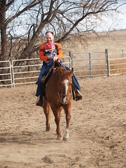A Young Equestrian and Dad (lostinfog) Tags: march 2010 dunny colorado e300 personns horse