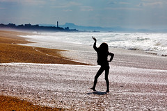 Saturday's Beach Fever (maximfr) Tags: blue sea mer lighthouse france beach water silhouette landscape sand energy eau europe aztec sable bleu paysage plage phare basquecountry paysbasque aquitaine anglet ef50mmf14usm pyrnesatlantiques canoneos50d labourd