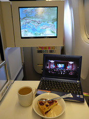 Life is good...! (Frans Zwart) Tags: world sunset club moving inflight bahrain cabin map heathrow seat first class entertainment seats british passenger ba boeing airways 777 sleeper ba125 ba124