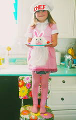 Little Baker (boopsie.daisy) Tags: pink flowers holiday cute rabbit bunny kitchen floral girl hat yellow cake proud vintage easter four baking aqua little sweet 4 memories daughter sadie apron gingham chef precious bake