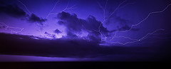 Storm over the Sea (Jack Wassell) Tags: ocean longexposure sea panorama storm beach water rain clouds purple thunderstorm lightning lightningstrike sigma1020mm wideanglelens