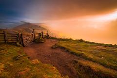 Mam Tor Sunrise (MatthewSavage.Photography) Tags: mamtor ridge peakdistrict uk england landscape ngc sun sunrise colour orange blue gate wooden green sky