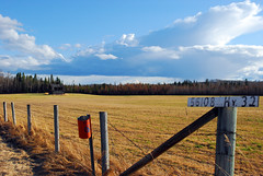 Where's the Barn (GoldenRules2) Tags: blue clouds barn fence hayfield albertaskies latesun goldengrass