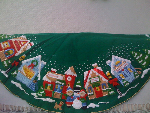 Christmas Village Tree Skirt.