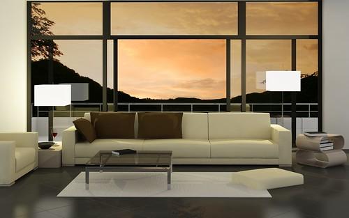 Minimalist Living Room Interior with Sunset Background,Modern Living Room, Living Room Interior, Living Room Design, Living Room decoration, Minimalist Living Room, Living Room decoration