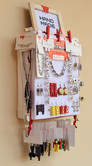 Strawberry Crate Jewelry Display 2 (weggart) Tags: handmade frame merchandising selfpromotion fruitcrate jewelrydisplay alternativematerialjewelry weggart crossstitchcanvas