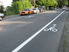 New bike lane and sharrows on 15th Avenue South, just north of South Atlantic Street. Photo by Jason.