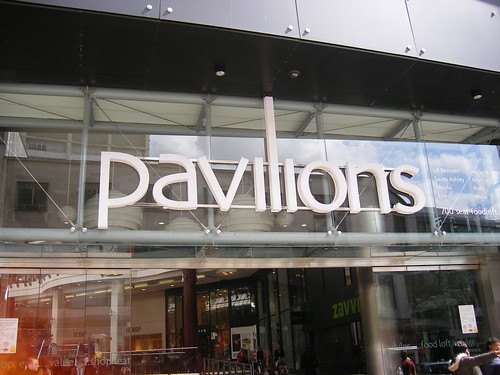 Pavilions - sign from High St