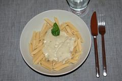 Penne y salsa di gorgonzola