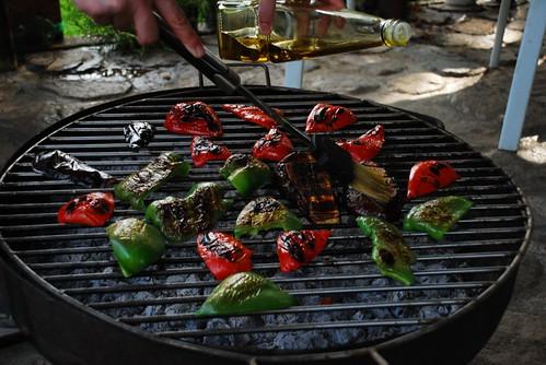 brasero con verduras