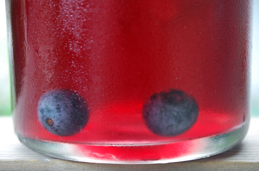 Blueberries in tea