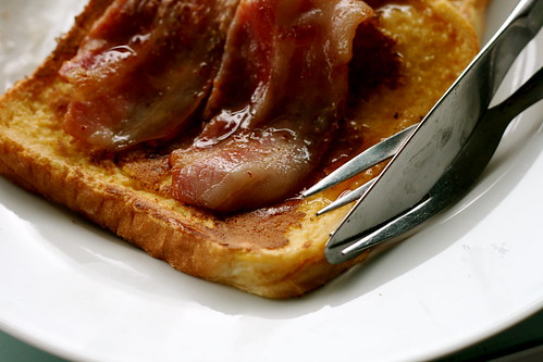 Sunday: the first time I ever tried french toast with bacon and maple syrup