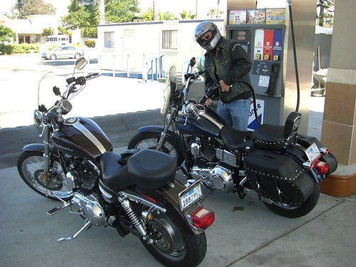 Gassing up the Harley's in Simi