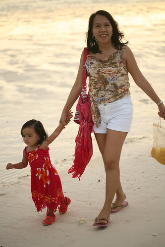 Cacing strolling with her Mom at Station 1