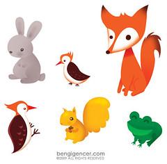 Meraklı Minik stickers (bengi gencer) Tags: rabbit bird woodpecker squirrel frog fox childrenillustration annimalillustration