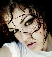 Instinct (Sara_Morrison) Tags: white wet water hair shower eyes makeup lips freckles acqua lentiggini bagnato