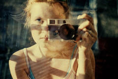 mrcz_lomo_16 (mariczka) Tags: camera blue sunlight selfportrait reflection eye film me girl face analog iso100 mirror lomo doubleexposure balcony lomolca redhead canonet doubleportrait canoncanonet konicaminoltavxsuper100 mariczka vintageanalogue canoncanonetoriginal swapwithmyself