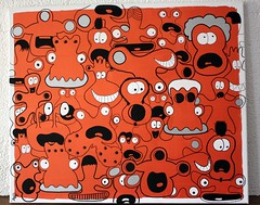 Bloody riot at iroquois cruiser, détail (Jepeinsdesaliens) Tags: orange lines illustration design sketch drawing dessin aliens characters vernon contours iroquois skall graphisme irisé cissor poscapens poscaart poscadesign