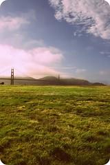 Golden Gate (JesseMari) Tags: sanfrancisco california bridge blue summer sky white mountains green grass fog clouds landscape hills goldengatebridge picnik feild