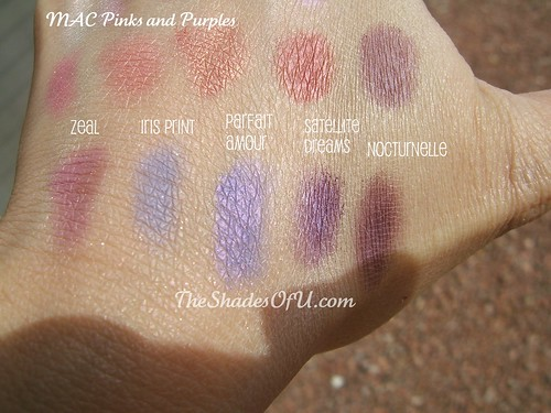 my mac pink and purple eyeshadow swatches the shades of u