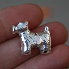 Little Scottie Dog (Greenriverstudio) Tags: uk cute woof silver shiny handmade charm jewellery scottiedog scottydig