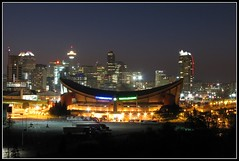 Saddledome @ Night (Wee in YYC) Tags: calgary night saddledome picnik canonpowershot pengrowthsaddledome
