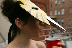 sabersip (sgoralnick) Tags: alexis nyc party newyork costume ps1 lic warmup longislandcity caveman neanderthal sabertoothedtiger ps1warmup flybutter brianandsuzettesdeck