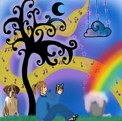 rochelle's pressie ^^ (its.catii) Tags: music cloud dog moon tree colors girl grass photoshop stars relax reading book rainbow colorful colours notes ps adobe gift present colourful trippy 70 wavy cass rochelle awesomeness catii simplycatii